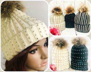 Womens Diamante Faux Fur Detachable Pom Pom Hat Bling Crystal 2 in 1 Beanie Hat