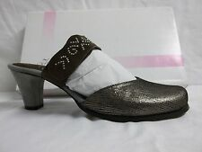 Helle Comfort Sz EU 39 US 8 M Emerald Taupe Leather Mules Heels New Womens Shoes
