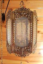 VTG Mid Century Gothic Spanish/Tudor Hanging Swag Light/Lamp,Medieval Panels