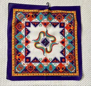 Vtg Wamcraft Bandana Handkerchief Aztec Tribal Western Native American Purple