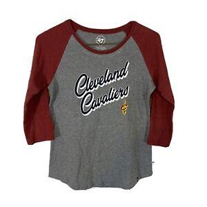 47 Brand Cleveland Cavaliers 3/4 Sleeve Raglan Shirt Women's M Wine Gray Soft
