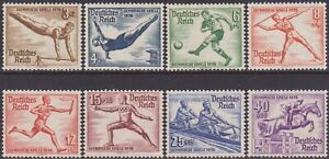 SET Germany 1936 Summer Olympic Games, Berlin 3pf-40pf MH Stamps SG606/613