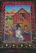 Signed Diana Bryer New Mexico Making Chile Ristras Poster 1989