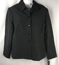 Dana Buchman Jacket Womens Sz 16 Black Tan Polka Dot Cotton Rayon Career Button