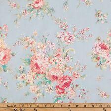 "Valance Powder Blue Pink Floral Curtain Topper 42""W 15""L Window Treatment"