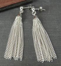 925 Sterling Silver Fringed Dangle Earrings