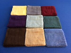 "washcloths, 100% cotton, soft, thick, absorbent, 13"" x 13"",  in various colors"