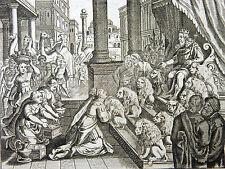 GRAVURE 18e s. La reine de Saba rend visite à Salomon BIBLE Sacy MERIAN 1770
