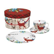 Winter Collage Design Dessert Boxed Set Plate, Saucer and Cup