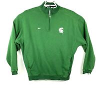VTG Nike Michigan State Spartans Mens Green V Neck Pullover Jacket Sewn Sz XL
