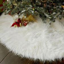 70~122cm Long Plush Snow Flake Christmas Tree Skirt Base Floor Mat Cover Decor