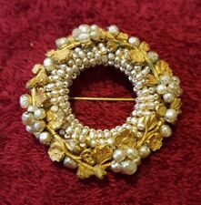 Vintage Miriam Haskell Baroque Pearl & Gold Tone Leaf and Flower Pin Brooch