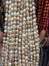 "Natural 8-9mm White Pink Purple Baroque Real Cultured Pearls Loose Beads 14"" AA"