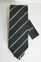 HUGO BOSS BLACK LABEL SILK STRIPED TIE GREEN/BLACK MADE IN ITALY#50406595-NWT