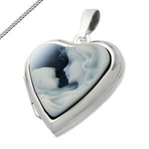 Medaillon Herz mit Gemme Mutter und Kind blau Amulett Gravur Kette 925 Silber