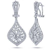 2.94 TCW 18K White Gold Natural Baguette Round Diamond Dangle Tear Drop Earrings