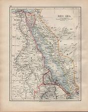 1902 MAP ~ RED SEA ~ EGYPT PENINSULA SINAI ERITREA YEMEN