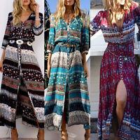 Summer Women Sexy V-Neck Retro Print Casual Beach Boho Maxi Sundress Long Dress