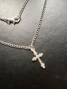Plus Size Anklet 10 Inch Silver Plated Ankle Bracelet Chain Little Silver Cross