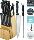 Kitchen Knife Set 15 Piece wood Block Stainless Steel Chef Cutlery Steak Knives
