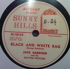 "JACK BARBOUR black & white rag / waltz of love 10"" 78 Rpm VG AC-103-S Rare Folk"