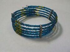 Vintage Blue & Yellow Beads 5 Tier Wire Wrap Bracelet