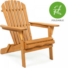 Folding Hemlock Wood Adirondack Chair Accent Furniture W/ Natural Finish - Brown