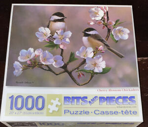 Bits & Pieces Cherry Blossom Chickadees Russell Cobane 1000 Piece Jigsaw Puzzle