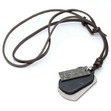 Punk Military Army Dog Tags Genuine Leather Adjustable Necklace Pendant 14-28''