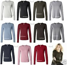 Bella Ladies Long Sleeve Cotton Crewneck Jersey T-Shirt 6500 S-2XL NEW