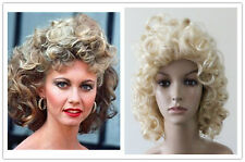 Womens Great sandy Ladies blonde curly Cosplay wig fancy dress Costume