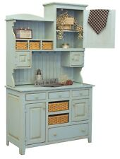 Primitive Farmhouse Kitchen Hutch Pantry Cupboard Distressed Painted Wood