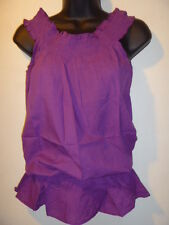 Top Size MEDIUM Sexy Purple On or Off Shoulder Smocked Waist Peasant Cotton T01