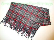 100% Cashmere Winter Scarf Scarve Scotland Warm Checks Plaid Red Black Gray NEW