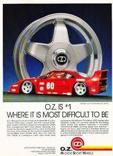 1991 Ferrari F40 O.Z. Wheels Original Advertisement Print Art Car Ad J572