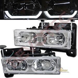88-99 GMC Chevy Suburban Tahoe CK C10 Yukon i8 Chrome Headlights RH + LH