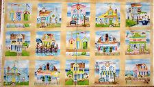 "Beach Ocean Cottages Sea Shells Shops Fabric Seaside Villiage 24""X44"" PANEL"