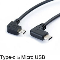 Left Angle 90 Degree Micro USB to Type-c Cable Converter OTG Adapter Data Cor_hc