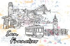 Art Postcard, San Francisco, California, USA, Landmarks, City, View, Travel 86H