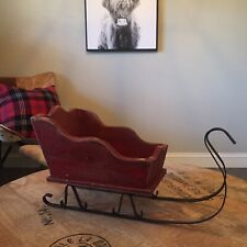 """❤️ 20"""" x 9"""" Wood Black Iron Santa Sleigh Planter Christmas Holiday Display Decor"""