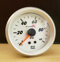 "Matrix Motorsports Mechanical Oil Pressure Gauge 52mm 2"" White Indiglo 0-100psi"