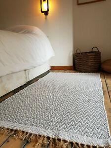 Scandi Recycled Cotton Jute Herringbone Soft Rugs 90 x 150 cm Reversible  SALE