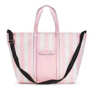 NEW w/ TAGS! VICTORIA'S SECRET ~ Large PINK STRIPED TOTE / SUMMER 2020 Season