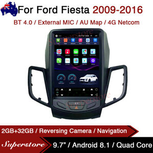 """9.7"""" Tesla Style Android 10.1 Car Stereo Navi GPS For Ford Fiesta 2009-2016 4g"""