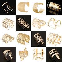 Retro Women Gold Plated Hollow Punk Cuff Bangle Wide Bracelet Fashion Jewelry