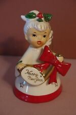 Vintage 1959 Napco Japan Christmas Angel Holly Bell Figurine Happy New Year flaw