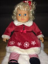 """25"""" Blonde Blue Eyed Girl Doll in Christmas Dress/Tights As Is"""
