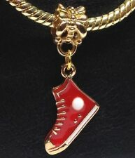 SNEAKER Red & Gold_Bead Fits European Chain Charm Bracelet_Runners Running Shoes
