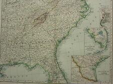 1907 datato mappa ~ sud-est degli Stati Uniti Georgia Carolina Florida NIAGARA