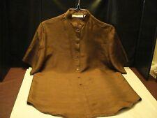 CHAUS 100% Silk Brown Short Sleeve Blouse, SZ - 6